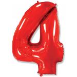 Шар (40''/102 см) Цифра, 4, Красный, 1 шт.